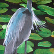 Lily And Egret Art Print
