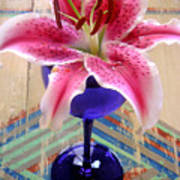 Lily On A Painted Table Art Print