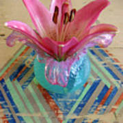Lily On A Painted Table Too Art Print