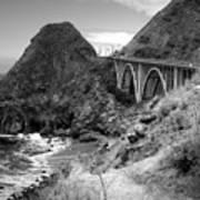 Lime Creek Bridge Highway 1 Big Sur Ca B And W Art Print