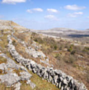 Limestone Pavements And Dry-stone Walls, Fahee North, Burren, County Clare, Ireland Art Print