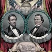 Lincoln And Johnson Election Banner 1864 Art Print