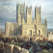 Lincoln Cathedral From The North West Art Print by Frederick Mackenzie