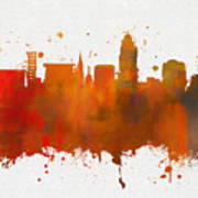Lincoln Nebraska Colorful Skyline Art Print