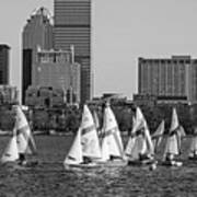 Line Of Boats On The Charles River Boston Ma Black And White Art Print