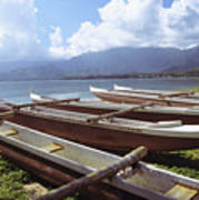 Line Of Outrigger Canoes Art Print by Joss - Printscapes