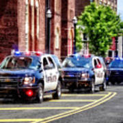 Line Of Police Cars Art Print
