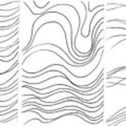 Lines 1-2-3 Black On White Art Print