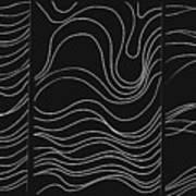 Lines 1-2-3 White On Black Art Print