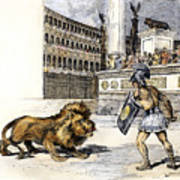 Lion & Gladiator Art Print