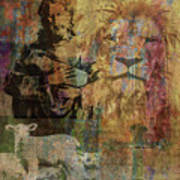 Lion And Lamb Collage Art Print