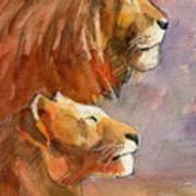 Lion, Lioness Art Print