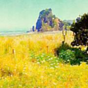 Lion Rock Painted Photo Art Print