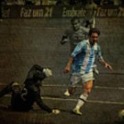 Lionel Messi Breaking Raphael Cabrals Ankles  Print by Lee Dos Santos