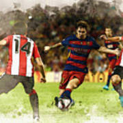 Lionel Messi Challenges The Athletic Bilbao Defense Art Print