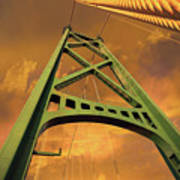 Lions Gate Bridge Tower Art Print