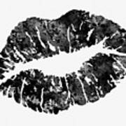 Lips-black Art Print