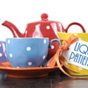 Liquid Patience Colorful Tea Set. Art Print