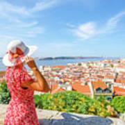 Lisbon Castle Woman Art Print
