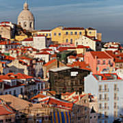 Lisbon Cityscape In Portugal At Sunset Art Print