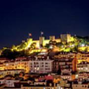 Lisbon Night Background Art Print