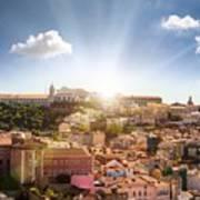 Lisbon Panoramic View To Afama Art Print