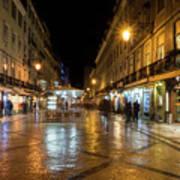 Lisbon Portugal Night Magic - Nighttime Shopping In Baixa Pombalina Art Print