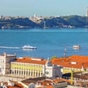 Lisbon Tagus River Skyline Art Print