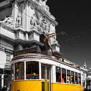 Lisbon's Typical Yellow Tram In Commerce Square Art Print