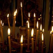lit Candles in church  Art Print