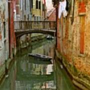 Little Boat On Canal In Venice Art Print