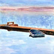 Little Boat On Foggy Lake II Art Print