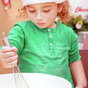 Little Boy Making Christmas Cookies Art Print