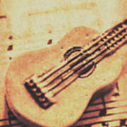 Little Carved Guitar On Sheet Music Art Print