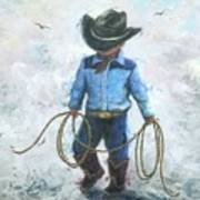 Little Cowboy Lasso Art Print