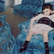 Little Girl In A Blue Armchair Art Print by Mary Stevenson Cassatt