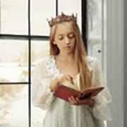 Little Girl Reading Book Art Print