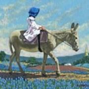 Little Girl With A Blue Bonnet Art Print