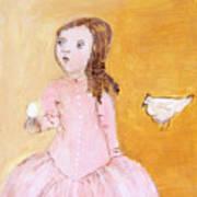 Little Girl With Her Hen Art Print