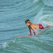 Little Guy Big Wave Art Print