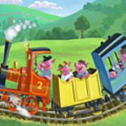 Little Happy Pigs On Train Journey Art Print