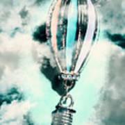 Little Hot Air Balloon Pendant And Clouds Art Print