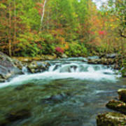 Little Pigeon River Flows In Autumn In The Smoky Mountains Art Print
