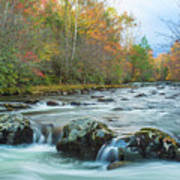 Little Pigeon River Great Smoky Mountains National Park In Fall Art Print