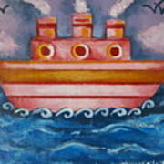 Little Pink Ship Art Print