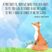 Little Prince Fox Quote, Text Art Art Print