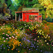 Little Red Flower Shed Art Print
