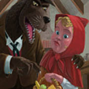 Little Red Riding Hood With Nasty Wolf Art Print by Martin Davey