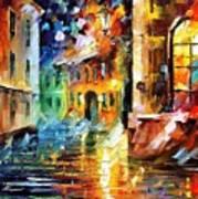 Little Street - Palette Knife Oil Painting On Canvas By Leonid Afremov Art Print
