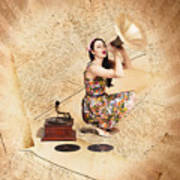 Live Music Pinup Singer Performing On Gig Guide Art Print